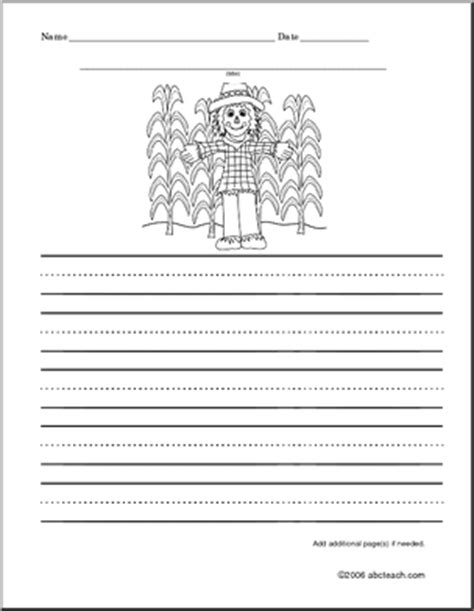 scarecrow writing paper scarecrow writing paper fall writing color and write