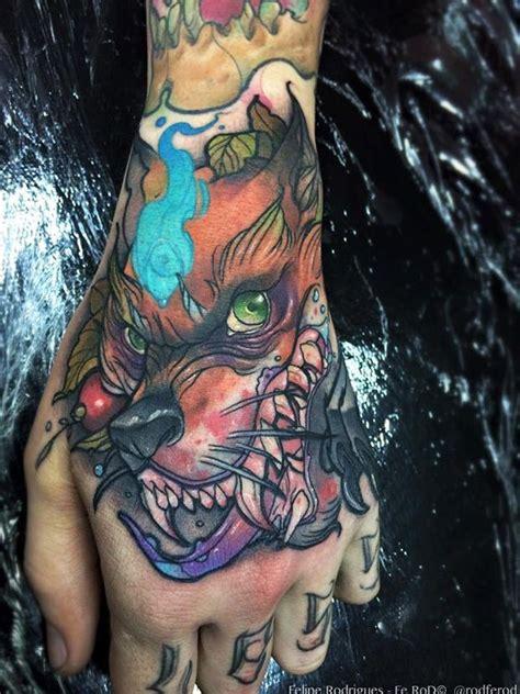 tattoo hand new school new school style colored hand tattoo of creepy evil