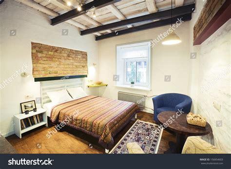studio type bedroom bedroom interior cozy studiotype guest house stock photo