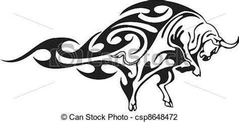 vector illustration of bull in tribal style vector image