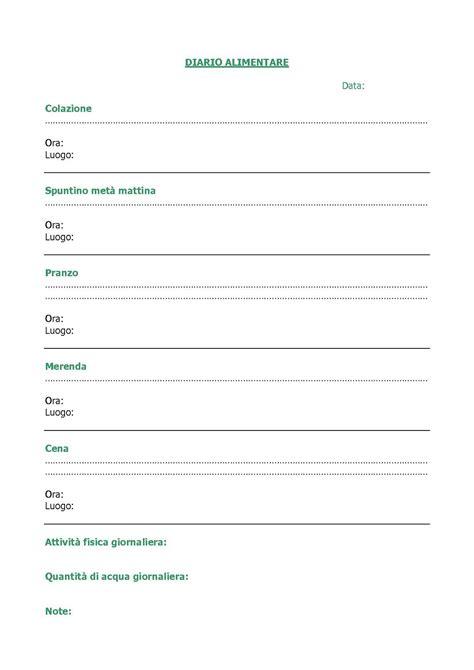 esempio di diario alimentare safralyn il diario alimentare