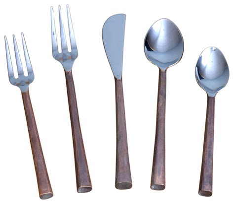 steel place setting set of 5 modern flatware and canyon 5 piece flatware set contemporary flatware and