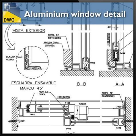 window section detail dwg aluminium window detail and drawing in autocad dwg files