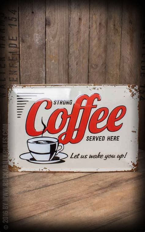 Le Chs De Fleurs Tapis by Tin Plate Sign 20 X 30cm Strong Coffee Served Here