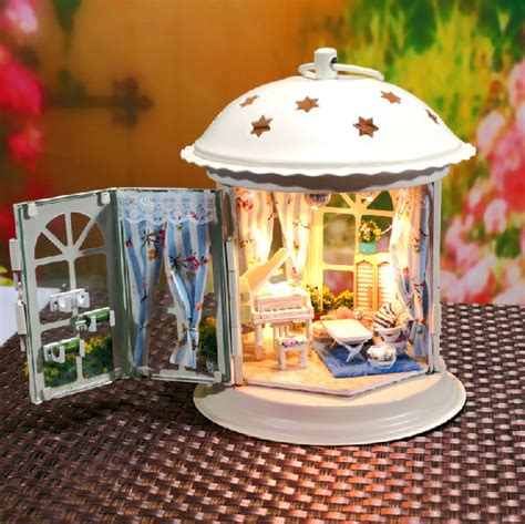 doll house figurines diy lantern dollhouse miniature handcraft kit gifts by unitime