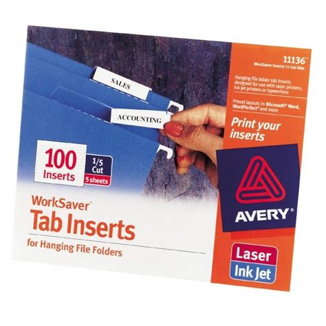 Printer Worksaver Tab Inserts Template
