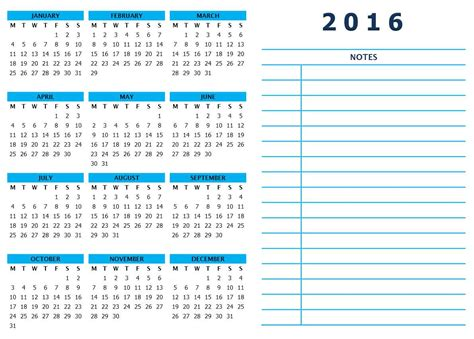 2016 yearly calendar with notes template calendar