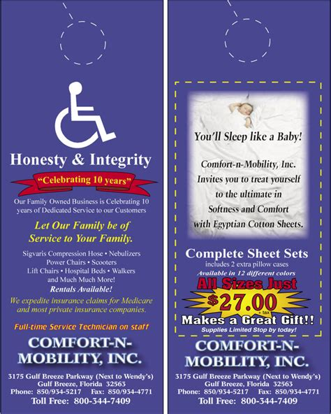 comfort mobility door hangers southern resort publications