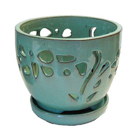 Orchid Planters Pots by 7 Quot Aqua Contoured Ceramic Orchid Pot