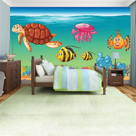 the sea wall mural sea animals wall mural the sea photo wallpaper