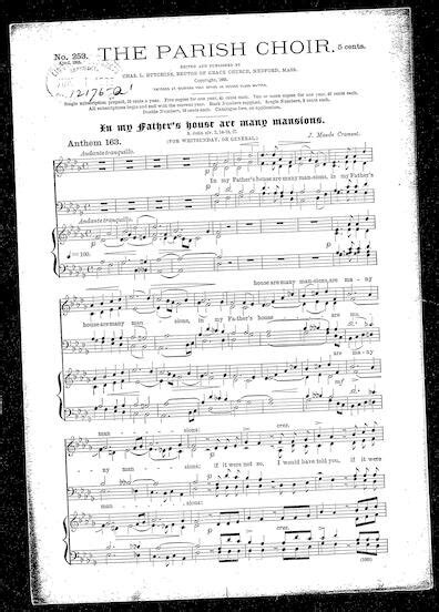 father s house song in my father s house are many mansions sheet music print material description