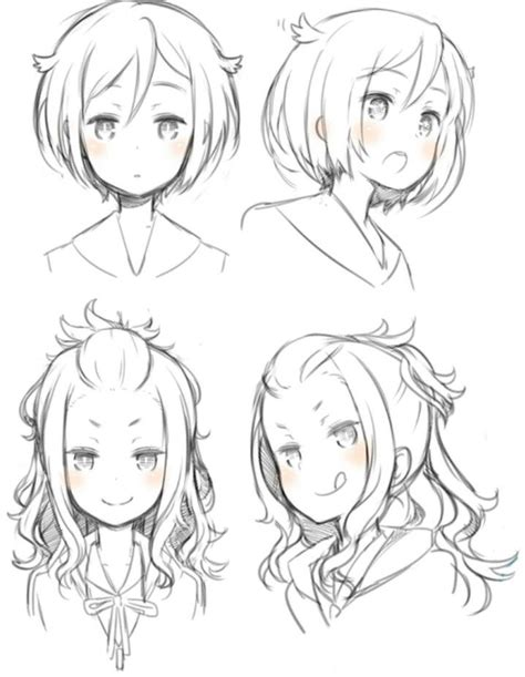 anime hairstyles ideas girl hairstyles pose position reference anime manga