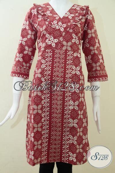 Baju Elegan Simple dress batik kombinasi motif kawung dan parang simple dan elegan model baju batik modern 2018