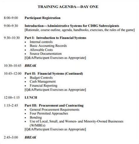 Session Outline Template by Sle Agenda 7 Exle Format