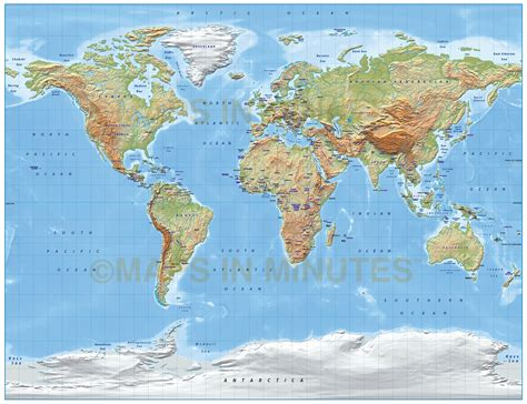 digital vector world relief map   gall projection