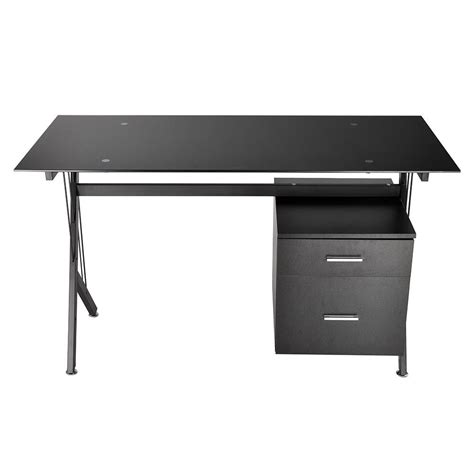 black desk with drawers black glass top computer desk workstation w 2 drawers