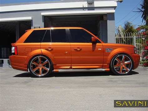 orange range rover range rover sport savini wheels
