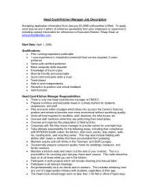 kitchen manager resume sle description for kitchen supervisor 28 images 50