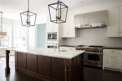 Over Island Lighting In Kitchen White And Brown Kitchen With Darlana Medium Lanterns