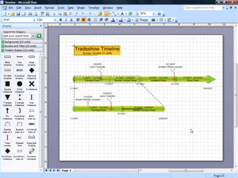 Create Project Timelines In Visio 2007 Visio Timeline Template