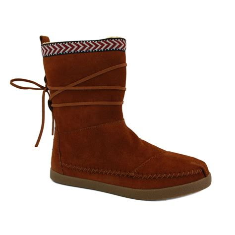 toms nepal boots womens slip on laced suede boots shoes