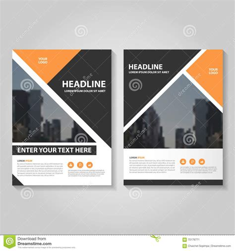 book template design orange vector annual report leaflet brochure flyer