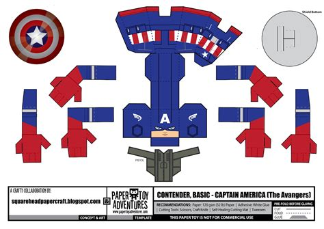 Captain America Papercraft - square papercraft captain america the