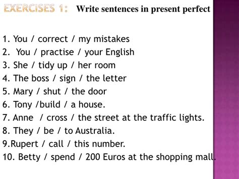 present perfect simple sentence pattern present perfect tense