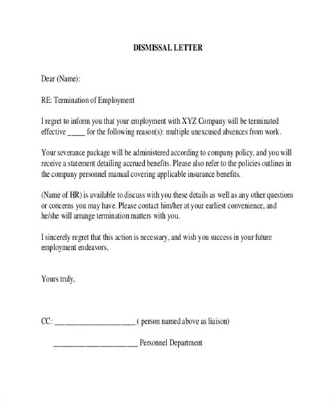 letter termination employment template business