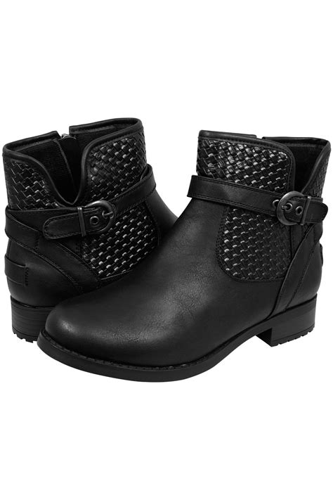 black whipstitch ankle boot in eee fit size 4eee 5eee