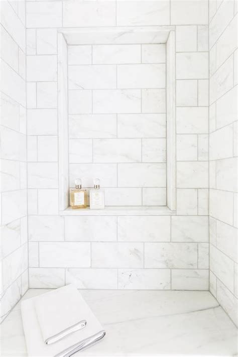 white shower marble shower niche design ideas