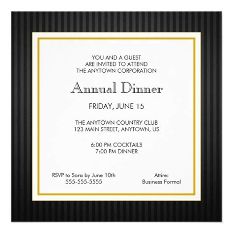 corporate dinner invitation template black gold business professional dinner personalized