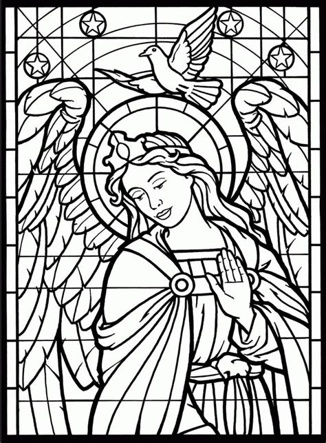 free printable stained glass coloring pages for adults