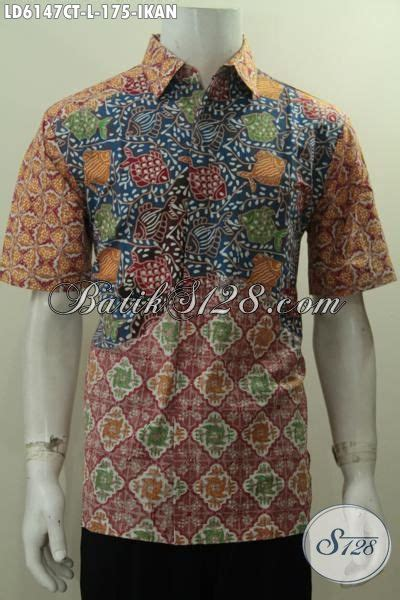 Batik Hem Ikan baju batik motif ikan size l hem batik cap tulis lengan pendek kwalitas bagus untuk kerja
