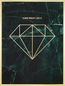 Poster med diamant i guld mot marmor tavlor