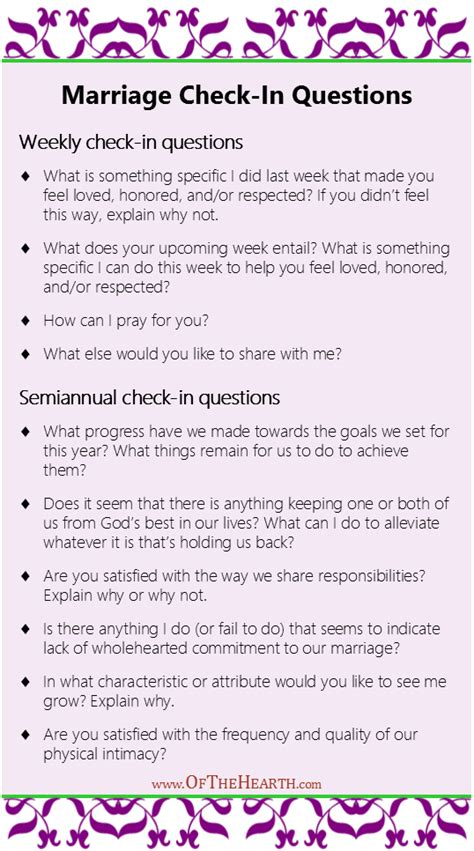 printable premarital questionnaire marriage check in questions