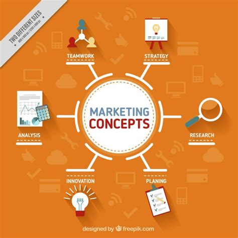 design online market orange background with marketing concepts vector free