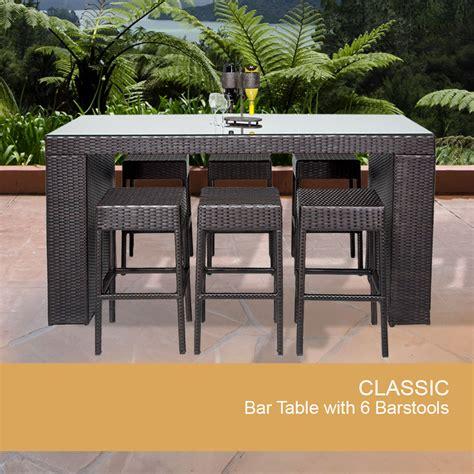 Wicker Bar Table 7 Wicker Bar Table Set W Barstools