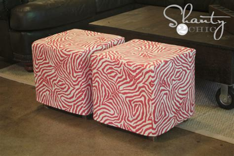 how to make a ottoman cover diy cube ottoman slipcover shanty 2 chic