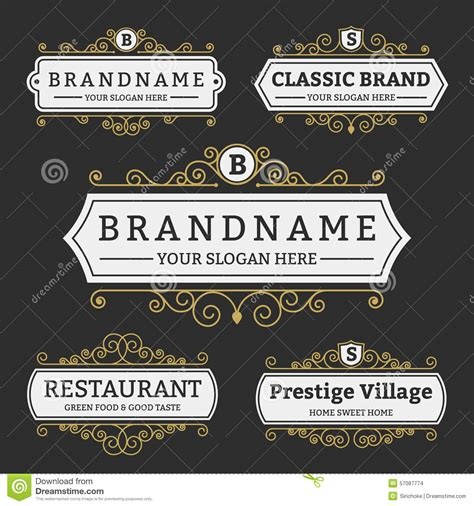 brand name tag design vintage badge and labels brand name collection stock