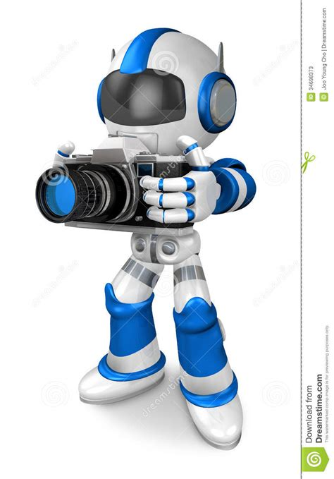 blue robot character  front  shoot  camera