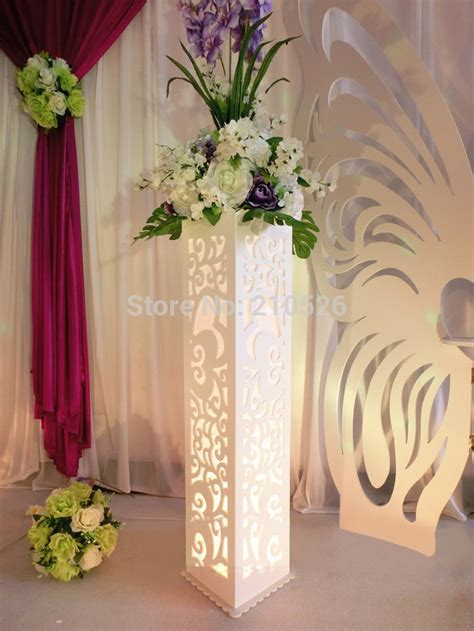 Wedding carved pillar hollow stand with LED light double
