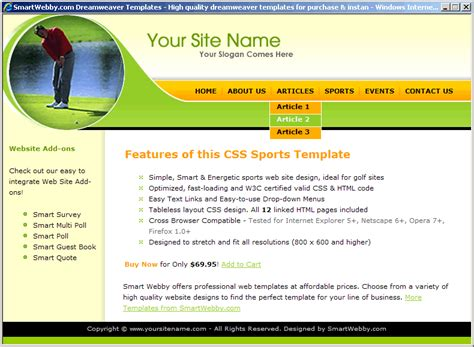 simple css templates for asp net golf template