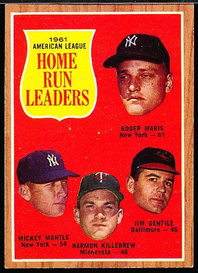 lot detail 1962 topps bb 53 al home run leaders maris