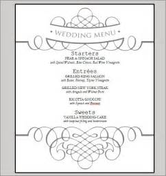 sle menu template printable wedding menu cards free wedding invitation ideas