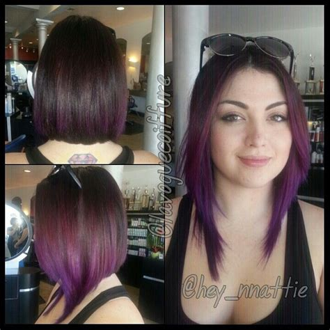 edgy haircuts la long a line bob with purple color melt by me my work for