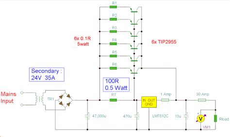 schematic diagram of regulated power supply simple 12v 30a regulated power supply circuit diagram