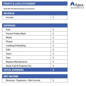 trucking profit  loss spreadsheet