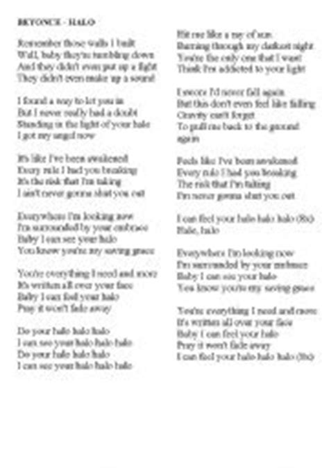 printable halo lyrics lyrics to listen by beyonc