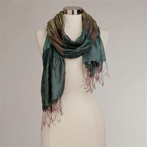 teal and green puckered silk scarf world market